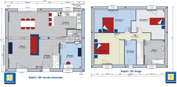 Exemple de plan de maison 120 m for Plan maison 120