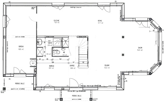 plan maison bow window
